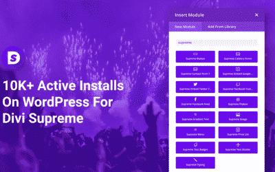 Divi Supreme's Milestone reaching 10K+ Active Installs On WordPress